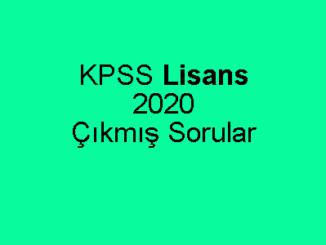 KPSS Lisans 2020 Çıkmış Sorular