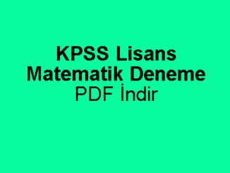KPSS Lisans Matematik Deneme