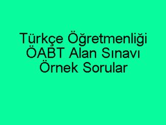 Türkçe Öğretmenliği ÖABT Alan Sınavı Örnek Sorular