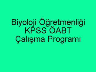Biyoloji Öğretmenliği KPSS ÖABT Çalışma Programı
