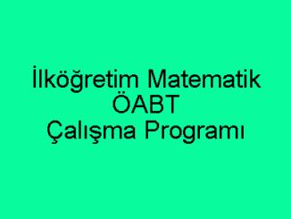 İlköğretim Matematik ÖABT Çalışma Programı