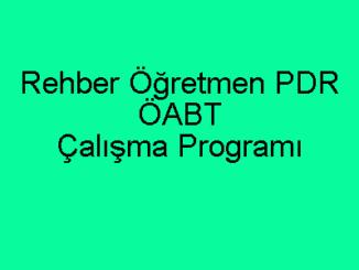 Rehber Öğretmen PDR ÖABT Çalışma Programı