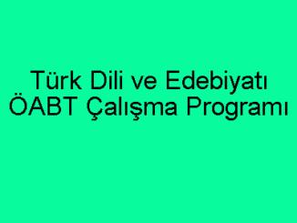 Türk Dili ve Edebiyatı ÖABT Çalışma Programı