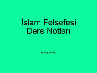 İslam Felsefesi Ders Notları