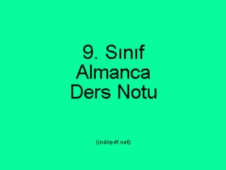 9. Sınıf Almanca Ders Notu